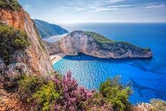 与海难和花的Navagio海滩反对在扎金索斯州海岛上的日落在希腊 免版税库存图片