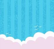 与海鸥和云彩的蓝色背景 图库摄影