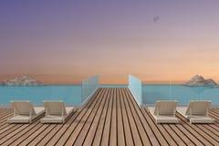 与海滩休息室设计的日落seaview在3D翻译 免版税库存图片
