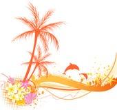 与海洋元素的抽象棕榈树 免版税库存照片