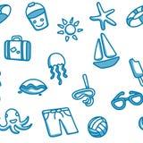 与海滩元素的无缝的木套鞋 库存照片