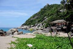 与海滩和山的风景 库存照片