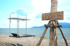 与海滩标志的海滩通入 免版税库存照片