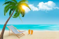 与海滩睡椅和轻碰flo的海边背景 库存照片