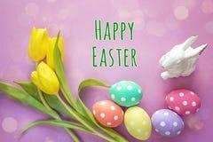 与消息复活节快乐,被察觉的鸡蛋,犹太教教士的复活节装饰 免版税库存图片