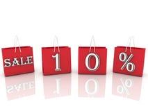 与消息销售和10百分之的购物袋 免版税库存照片
