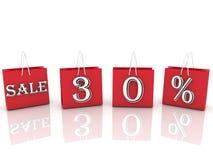 与消息销售和30百分之的购物袋 免版税库存图片
