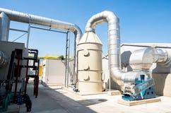 与涡轮的废处理管道系统 库存图片