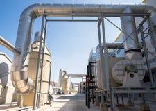 与涡轮的废处理管道系统 库存照片