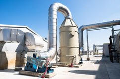 与涡轮的废处理管道系统 免版税库存照片