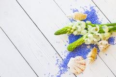 与淡紫色腌制槽用食盐的温泉概念 图库摄影