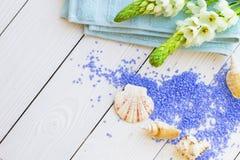 与淡紫色腌制槽用食盐的温泉概念 免版税图库摄影