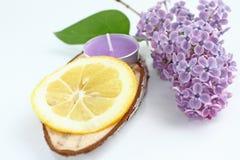 与淡紫色花、紫色芳香蜡烛和柠檬切片的构成在与拷贝空间的白色背景文本的 图库摄影