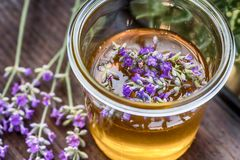 与淡紫色花的夏天蜂蜜 免版税库存照片