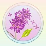 与淡紫色花的比赛象 库存照片