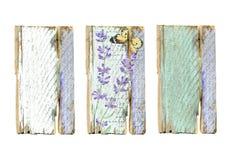 与淡紫色花的葡萄酒木制框架 免版税库存照片