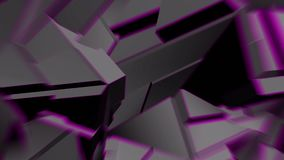 与淡紫色边缘的深灰抽象多角形打破的形状动摇无缝的圈 3D动画 向量例证