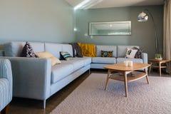 与淡蓝的家具的客厅内部 图库摄影