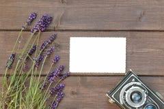 与淡紫色花的农村旅行概念 库存图片