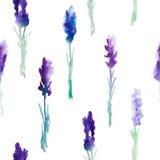 与淡紫色花的水彩无缝的样式 库存照片