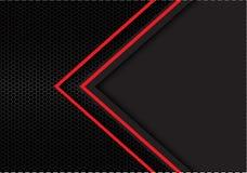 与深灰空白设计现代未来派背景传染媒介的抽象红色箭头光方向六角形滤网 库存例证