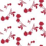 与深红玫瑰和叶子剪影的水彩无缝的样式在白色背景 中国主题 库存照片
