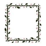 与深绿分支的方形的框架与叶子和刺和红色玫瑰色剪影 库存例证