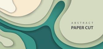 与深绿颜色纸的传染媒介背景削减了波形 3D抽象纸艺术样式,设计版面 向量例证