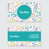 与深蓝和桃红色花传染媒介设计模板的名片 库存照片