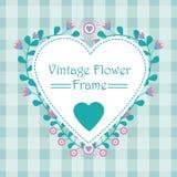 与深蓝和桃红色花爱花圈的花卉框架横幅传染媒介设计 库存照片