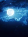 与深蓝色Nightime天空和云彩的剧烈的月出背景 免版税库存图片