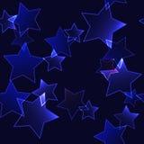 与深蓝霓虹星(无缝的背景)的黑暗的背景 图库摄影
