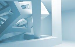 与混乱建筑的蓝色和白色摘要3d内部 库存图片