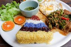 与混乱的五种颜色米油煎了猪肉和蓬蒿 库存图片