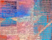 与混乱线和不同的色素的抽象无缝的样式 库存例证