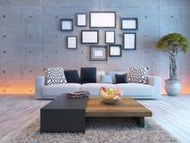 与混凝土墙和画框的客厅室内设计 免版税库存图片