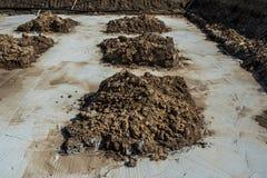 与混凝土的基础在建造场所 免版税库存照片