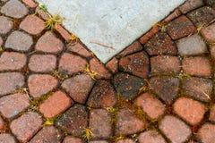 与混凝土的抽象圆的砖纹理 免版税库存照片