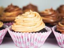 与混杂的结霜奶油的巧克力杯形蛋糕,在桃红色杯子 免版税库存照片