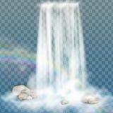 与清楚的水、彩虹和泡影的现实瀑布 设计风景图象的自然元素 在透明ba 免版税库存图片