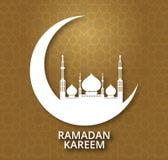与清真寺剪影的赖买丹月Kareem发光的背景 免版税库存照片