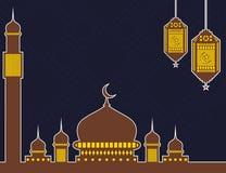 与清真寺和灯笼的伊斯兰教的背景 库存例证
