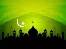 与清真寺的宗教eid背景设计。 向量例证