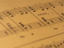 与渐强的标记的古典印刷品钢琴比分 免版税库存图片