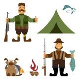 与渔夫和猎人象的设计例证 向量 图库摄影