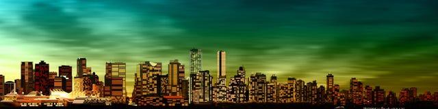 与温哥华全景的抽象背景  免版税库存照片