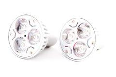 与温暖的光的两个LED节能电灯泡 免版税库存图片