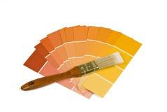 与温暖的口气油漆样品的画笔 免版税库存图片