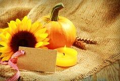与温暖的橙色口气的土气感恩卡片 免版税库存照片