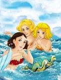 与游泳与大壳的三个美人鱼的动画片场面 免版税库存照片